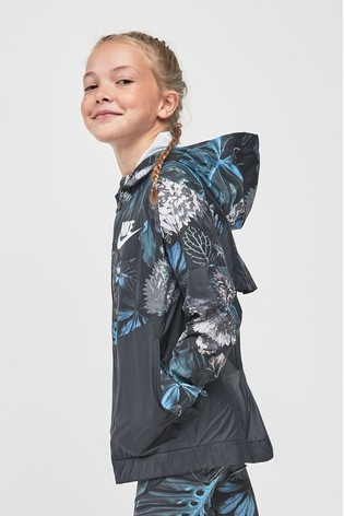 51a83cedde Buy Nike Windrunner Grey Blue Floral Printed Jacket from the Next UK ...