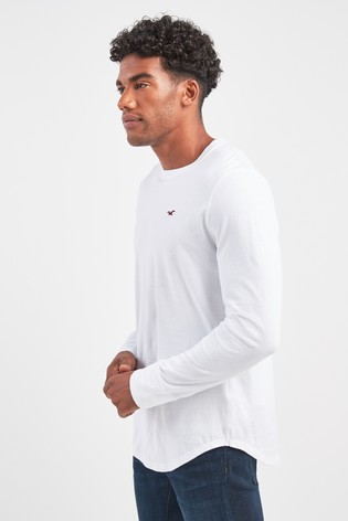 8f22e977197f3 Buy Hollister White Grey Navy Long Sleeve Tee Three Pack from Next India
