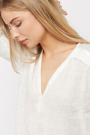 0b39cf75458020 Buy Monsoon Ladies White Heidi Linen Gauze Top from Next Italy