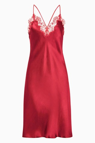 0dd62ac3d Buy Figleaves Red Lana Pure Silk And Lace Chemise from Next Ireland