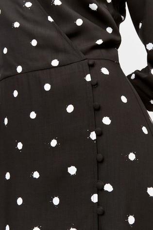 6bd0175ef55d Buy Warehouse Black Spot Print Midi Dress from the Next UK online shop