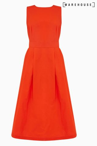 75ee9fade328 Buy Warehouse Orange Cotton Tie Back Midi Dress from Next Ireland