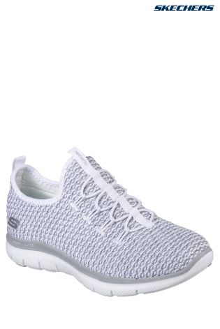 Skechers® White Knit Vamp Bungee Slip-On With Air Cooled Memory Foam ... 9d82caac33