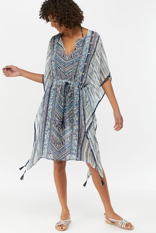 61712f00fd4 Buy Monsoon Ladies Blue Amy Geo Kaftan from the Next UK online shop