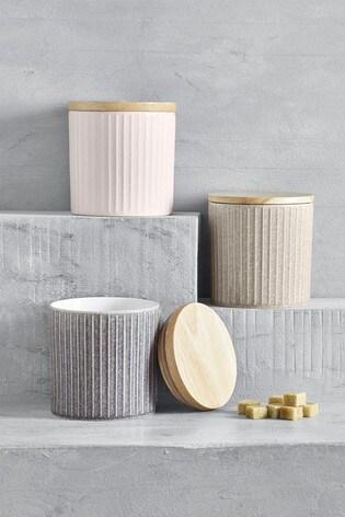 Set Of 3 Reactive Ceramic Storage Jars by Next