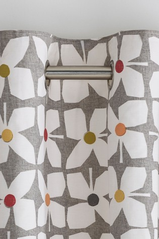 Retro Geo Floral Eyelet Lined Curtains