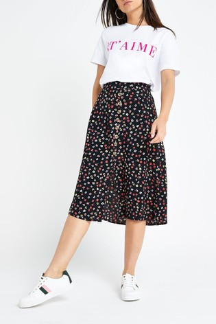 large discount buy online on feet images of River Island Petite Black Ditsy Midi Skirt