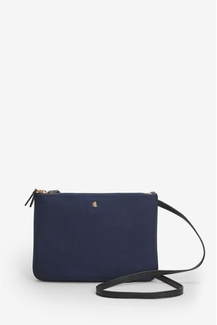 Yhdysvaltain halpa myynti sävyt erityinen kenkä Ralph Lauren Navy Nylon Carter Cross Body Bag