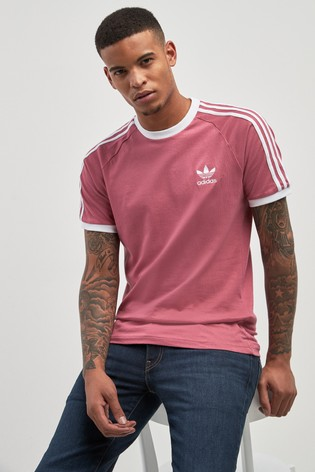 8e018a3e5f Buy adidas Originals Trace Dark Pink 3 Stripes Tee from the Next UK ...
