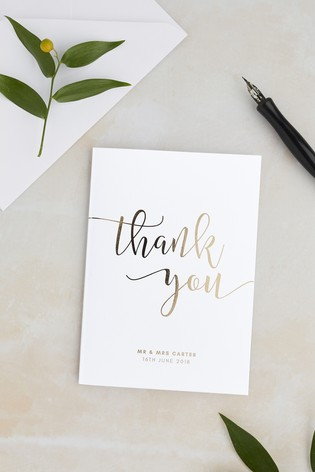 Buy Personalised Script Foil Thank You Card By Wedding Graphics From