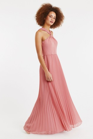 Buy Oasis Pink Twist Neck Pleat Maxi Dress from the Next UK online shop 6e94cd14c