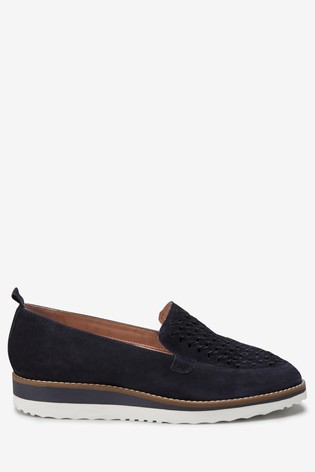 3b70dcbe65 Navy Suede EVA Woven Slip-On Loafers