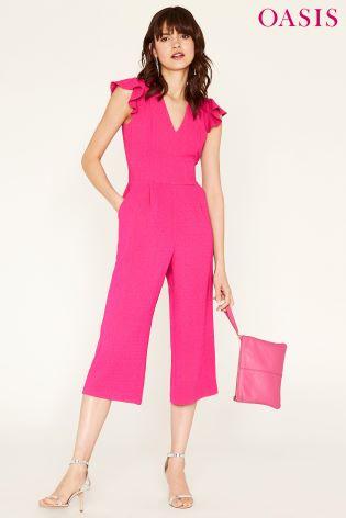 c42eae58cbe8 Buy Oasis Pink Frill Sleeve V-Neck Jumpsuit from Next Ireland