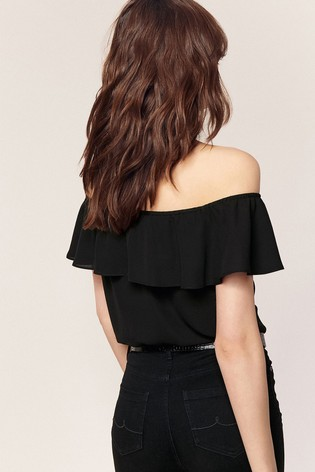 f5a1a6a6821 Buy Oasis Black Button Through Bardot Top from the Next UK online shop
