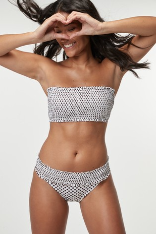ever popular best website low priced Cream Shirred Bandeau Bikini Top