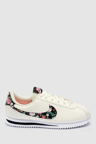 lace up in pretty nice nice cheap Nike Cream/Floral Cortez Youth Trainers
