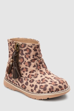 c53876217beab Buy Leopard Print Tassel Ankle Boots (Enfant) from Next Luxembourg