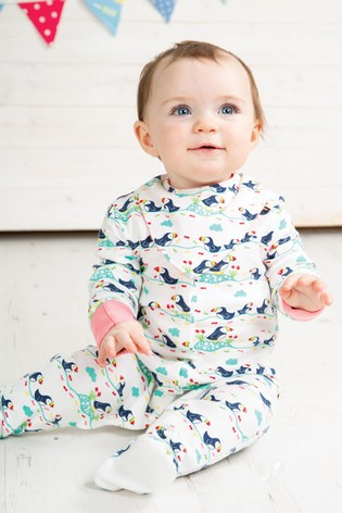 6332a09366c96 Buy Frugi Organic Puffin Print Babygrow With Built In Scratch Mitts ...