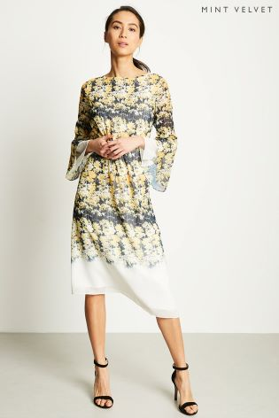 7b72aedfedda Buy Mint Velvet Yellow Bianca Print Midi Dress from Next Ireland