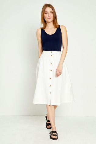 ab8bce150f Buy Great Plains White Safi Linen Button Midi Skirt from the Next UK ...