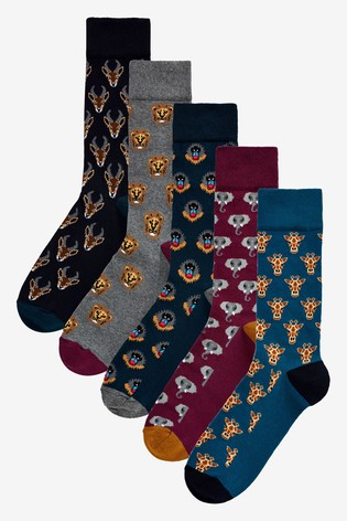 vivid and great in style choose official online shop Multi Animal Pattern Socks Five Pack
