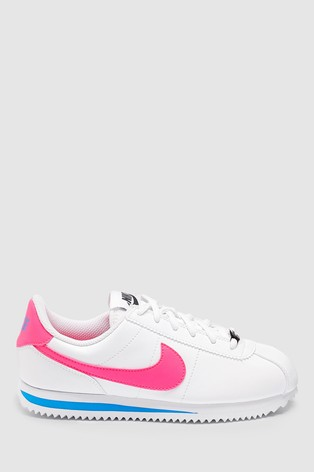 low priced performance sportswear great quality Nike White/Pink Cortez Youth Trainers