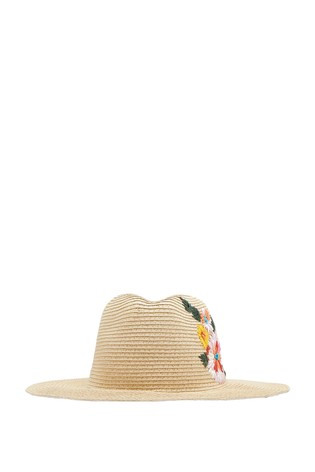 f39ba0683 Joules Natural Dora Floral Embroidered Fedora Hat