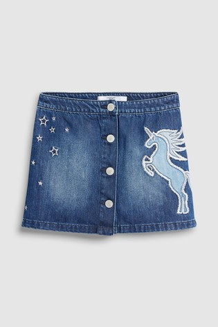 Dark Blue Denim Unicorn Embroidered Skirt (3-16yrs)