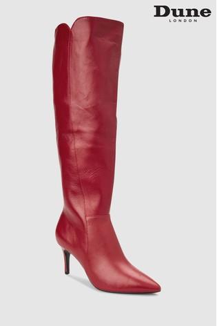 85f7da25db0 Dune Red Sakuraa Pointed Leather Long Boot