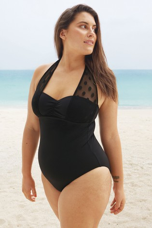 Figleaves Black Icon Spot Mesh Shaping Swimsuit