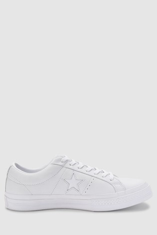 później wielka wyprzedaż uk sklep Converse White/White Leather One Star Trainers