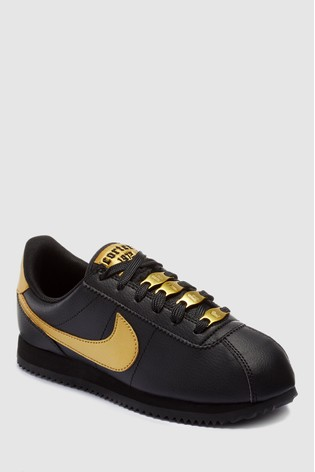 best service f31f0 a5289 Nike Black/Gold Cortez Youth Trainers