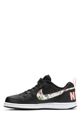 regard détaillé 2e4ab 82cca Nike Black/Floral Court Borough Junior Trainers