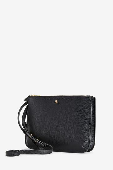 lace up in purchase cheap super cute Ralph Lauren Black Vegan Leather Carter Cross Body Bag