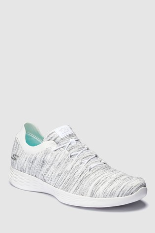 From With Heather Collar Buy Bungee Shoe Next Knit White Skechers® 6bgy7f