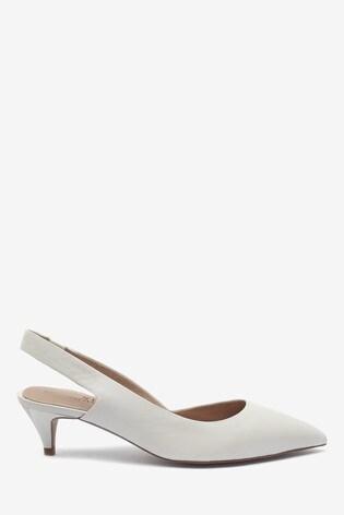 1b9a76c11d0 White Leather Kitten Heel Slingbacks