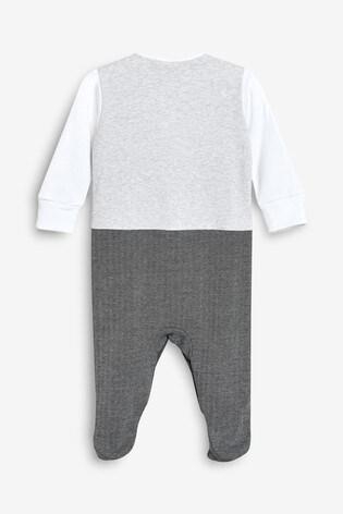 NEXT BABY BOY BOW TIE /& WAIST COAT SLEEPSUIT BABY GROW PURE COTTON NAVY GREY