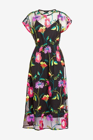 2720647b2e215 Buy Floral Embroidered Mesh Midi Dress from Next Malta