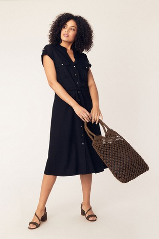 01fcb467c91 Buy Oasis Black Utility Linen Look Shirt Dress from the Next UK ...