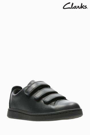 2252b16d Buy Clarks Black Leather Nate Maze Triple Velcro Kids Trainers from ...