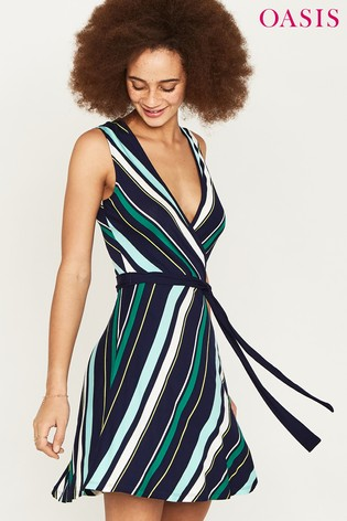 2fccbfcf7a7b Buy Oasis Navy Monroe Stripe Wrap Dress from Next Germany