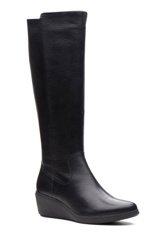 da47fdf3baa0 Buy Clarks Black Un Tallara Esa Leather Wedge Long Boot from the ...