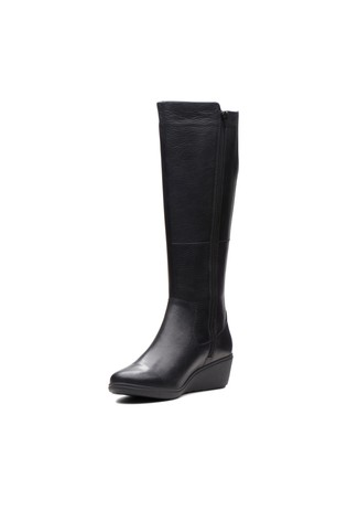 43513bd52598 Buy Clarks Black Un Tallara Esa Leather Wedge Long Boot from the ...