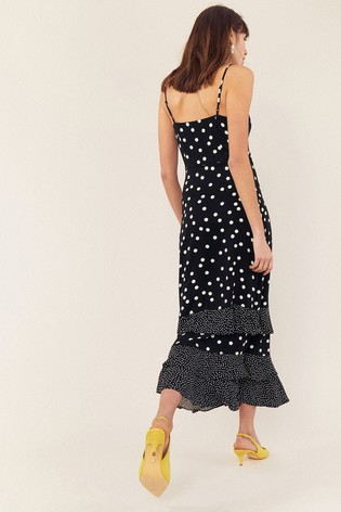 67b8fd13525a Buy Oasis Black/White Spot Tiered Maxi Dress from the Next UK online ...