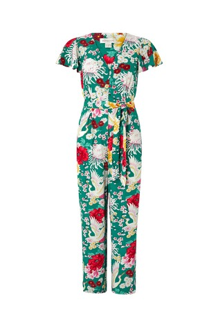 6e7450f6 Buy Monsoon Ladies Green Amber Print Long Jumpsuit from Next Italy