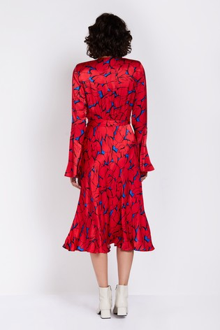 5136c08d5d2 Buy Ghost London Red Printed Annabelle Satin Dress from the Next UK ...