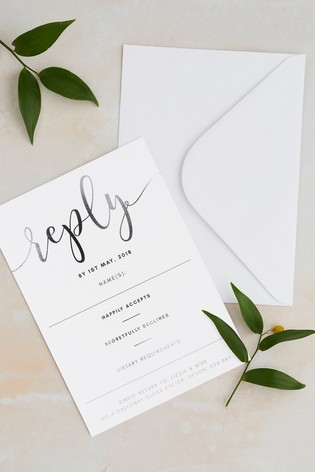 buy personalised script foil rsvp card by wedding graphics from the