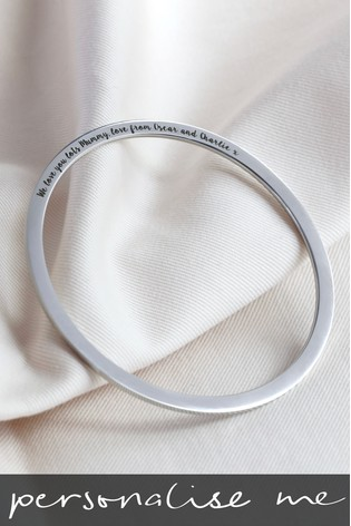 5ae3ba20dc21b Personalised Engraved Silver Bangle by Lisa Angel