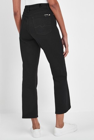 authorized site outlet boutique super cheap 7 For All Mankind Black Vintage Crop Bootcut Jeans