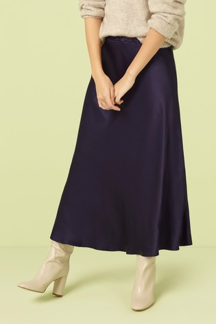 49489e32c Buy Finery London Blue Navy Alberte Satin Midi Skirt from the Next ...